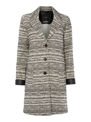 Oui Long Coat With Zigzag Detail White