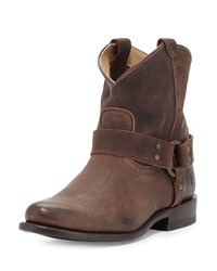 Wyatt Leather Harness Ankle Boot Dark Brown Frye