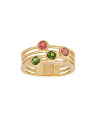 Lord And Taylor Green Pink Tourmaline Cutout Ring Gold