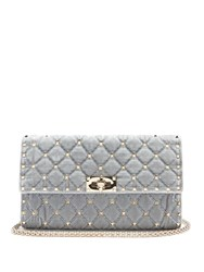 Valentino Rockstud Quilted Velvet Shoulder Bag Light Grey