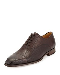 Magnanni Lizard Embossed Lace Up Oxford Marron