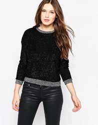 French Connection Sparkle Nights Crop Top Black