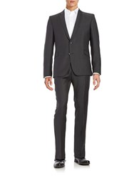 Strellson Slim Fit Textured Suit Charcoal