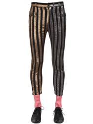 Haider Ackermann Skinny Gold And Silver Striped Jeans