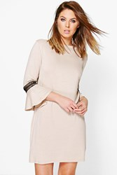 Boohoo Crochet Trim Flute Sleeve Shift Dress Light Sand
