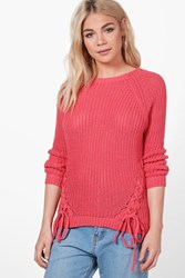 Boohoo Lace Up Detail Jumper Coral