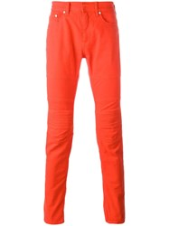 Neil Barrett Ribbed Knee Panelled Trousers Red