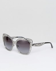 Dolce And Gabbana Cut Out Lace Cat Eye Sunglasses In Silver Silver