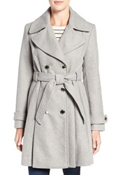 Jessica Simpson Women's Fit And Flare Trench Coat Heather Grey