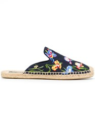 Tory Burch Max Embroidered Espadrille Slides Blue