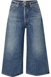 Citizens Of Humanity Emily Cropped High Rise Wide Leg Jeans Mid Denim