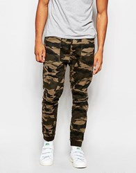 Abercrombie And Fitch Cuffed Jogger In Camo Olive Green