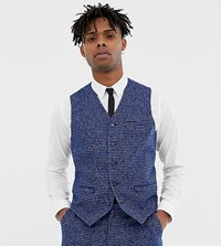 Heart And Dagger Skinny Fit Suit Waistcoat In Blue Dogstooth