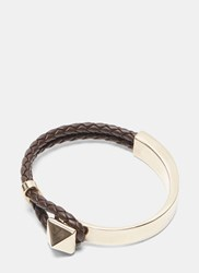 Valentino Gold Pyramid Stud Braided Leather Bracelet Brown