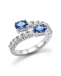 Bloomingdale's Diamond And Sapphire Two Stone Wrap Ring In 14K White Gold White Blue