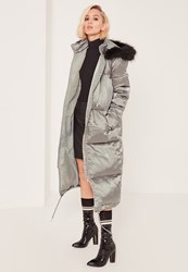 Missguided Grey Longline Satin Puffa Coat Green
