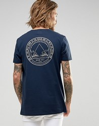 Asos Longline T Shirt With Ocean Circle Chest And Back Print In Navy Navy