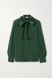 Tory Burch Pussy Bow Fringed Silk Crepe De Chine Shirt Emerald