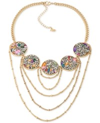 Abs By Allen Schwartz Gold Tone Stone And Crystal Statement Necklace