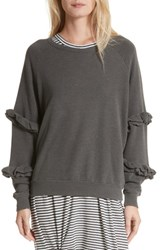 The Great Women's Great. Frill Sleeve Sweatshirt Washed Black