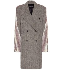 Y Project Faux Fur Trimmed Tweed Coat Multicoloured