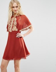 Asos Embroidered Skater Dress With Open Back Rust