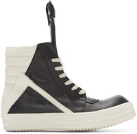 Rick Owens Black And White Geobasket High Top Sneakers