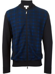 Brioni Full Zip Plaid Sweater Black