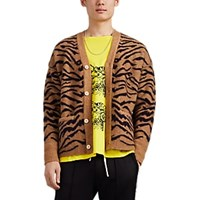 Ovadia And Sons Tiger Striped Alpaca Merino Wool Cardigan Beige Tan