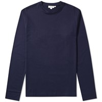 Sunspel Long Sleeve Crew Neck Tee Blue