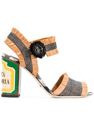 Dolce And Gabbana Raffia Keira Straw Sandals Brown