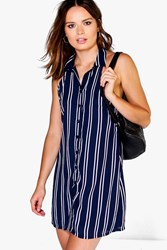 Boohoo Collared Halterneck Shirt Dress Navy