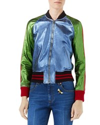 Gucci Metallic Leather Bomber Jacket With Snake Patch Multi Multi Colored