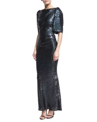 Talbot Runhof Lobata Cape Sleeve Sequined Gown Navy