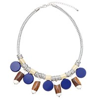 John Lewis Circle And Wood Bead Collar Necklace Silver Blue