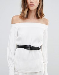 Vero Moda Leather Knot Waist Belt Black