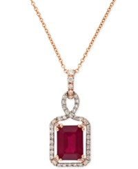 Effy Collection Effy Ruby 1 1 2 Ct. T.W. And Diamond 1 5 Ct. T.W. Pendant Necklace In 14K Gold