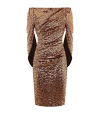 Talbot Runhof Sequin Cape Back Dress Female Metallic