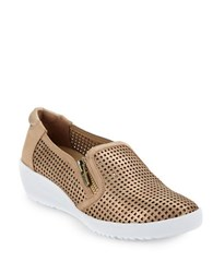 Anne Klein Demi Wedge Perforated Metallic Slip Ons Light Bronze