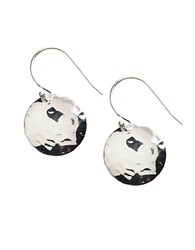 Lord And Taylor Sterling Silver Hammered Disc Drop Earrings