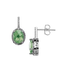 Lord And Taylor Sterling Silver Green Amethyst Drop Earrings With White Topaz Halo