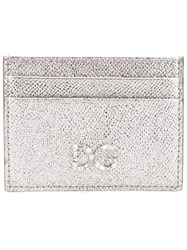 Dolce And Gabbana Logo Plaque Card Holder Metallic