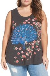 Lucky Brand Plus Size Women's Embroidered Peacock Tank