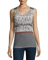 Neiman Marcus Cashmere Collection Animal Stripe Print Cashmere Tank Women's