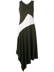 D.Exterior Asymmetric Panel Dress Green