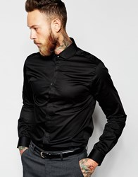 Noose And Monkey Shirt With Penny Collar In Skinny Fit Black