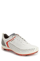 Men's Ecco 'Biom' Hydromax Waterproof Golf Shoe White Fire Leather
