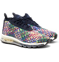 Nikelab Air Max Faux Suede Trimmed Woven Sneaker Boots Navy