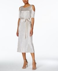 Connected Metallic Crinkled Cold Shoulder Midi Dress Silver
