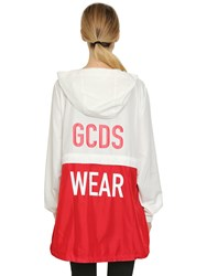 Gcds Hooded Zip Off Anorak Jacket White Red